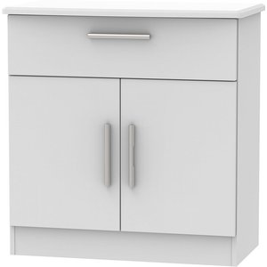 Welcome Furniture Knightsbridge Grey Matt 2 Door 1 Drawer Narrow Sideboard