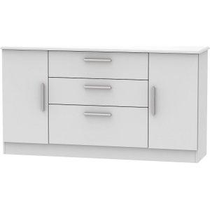 Welcome Furniture Knightsbridge Grey Matt 2 Door 3 Drawer Wide Sideboard