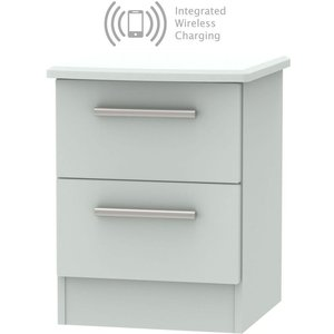 Welcome Furniture Knightsbridge Grey Matt 2 Drawer Bedside Cabinet With Integrated Wireless Charging, Grey Matt