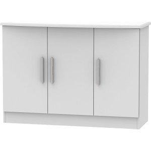 Welcome Furniture Knightsbridge Grey Matt 3 Door Narrow Sideboard