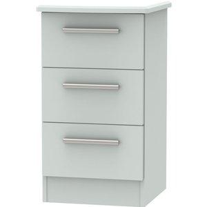Welcome Furniture Knightsbridge Grey Matt 3 Drawer Bedside Cabinet, Grey Matt