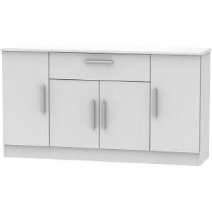 Welcome Furniture Knightsbridge Grey Matt 4 Door 1 Drawer Wide Sideboard