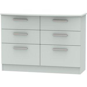 Welcome Furniture Knightsbridge Grey Matt 6 Drawer Midi Chest, Grey Matt