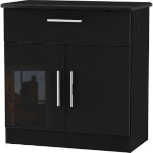 Welcome Furniture Knightsbridge High Gloss Black 2 Door 1 Drawer Narrow Sideboard