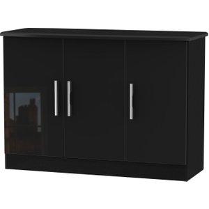Welcome Furniture Knightsbridge High Gloss Black 3 Door Narrow Sideboard