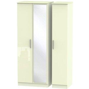 Welcome Furniture Knightsbridge High Gloss Cream 3 Door Tall Mirror Wardrobe, High Gloss Cream