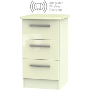 Welcome Furniture Knightsbridge High Gloss Cream 3 Drawer Bedside Cabinet With Integrated Wireless Charging, High Gloss Cream Front and Matt Cream Carcase