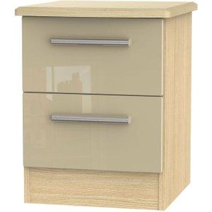 Welcome Furniture Knightsbridge High Gloss Mushroom And Oak Bedside Cabinet - 2 Drawer Locker