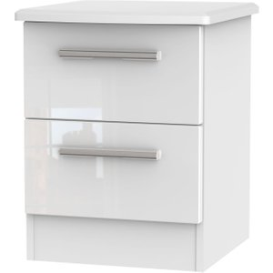 Welcome Furniture Knightsbridge High Gloss White 2 Drawer Bedside Cabinet, High Gloss White