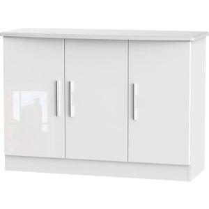Welcome Furniture Knightsbridge High Gloss White 3 Door Narrow Sideboard