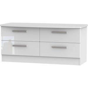 Welcome Furniture Knightsbridge High Gloss White Bed Box - 4 Drawer, white