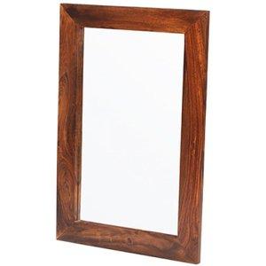 Hermitage Furniture Kuba Sheesham Rectangular Mirror - 60cm X 90cm, Honey Brown Waxed Lacquered