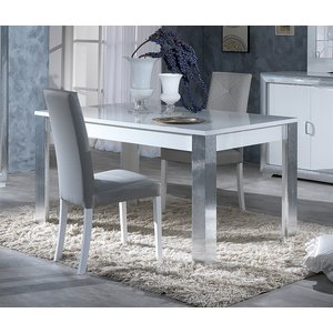 Sicily Designs Leni White And Silver Italian Extending Dining Table And 4 Chair, White and Silver