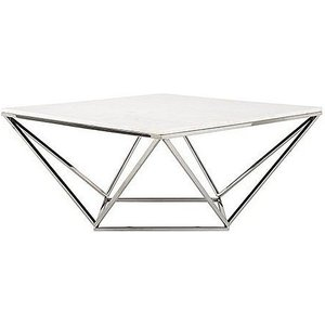 Richmond Interiors Levanto Diamond White Marble Top Coffee Table