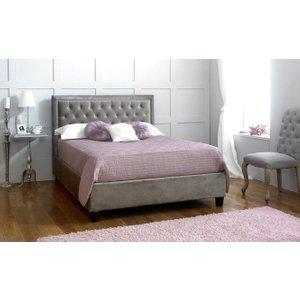 Limelight Beds Limelight Rhea Plush Silver Velvet Bed, Silver