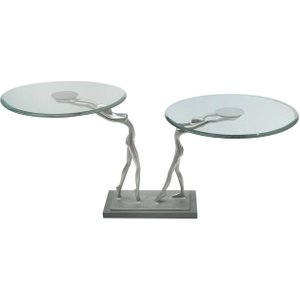 Deco Home Limerick Glass Large End Table, Nickel