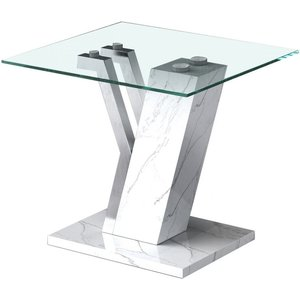 Deco Home Lisco White Faux Marble And Glass End Table, White