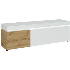 Furniture To Go Luci White And Oak Wide Tv Unit With Led Light, White and Oak