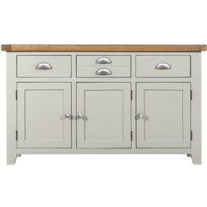 House Brands Lundy Grey 3 Door 3 Drawer Wide Sideboard