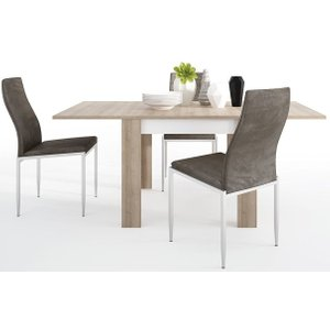 Furniture To Go Lyon Small Extending Dining Table And 4 Milan Dark Brown Chairs - Riviera Oak And High Glo, Riviera Oak and High Gloss White