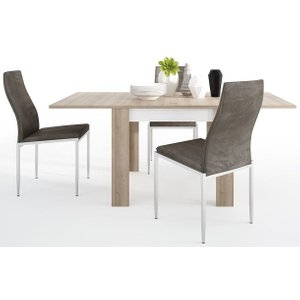 Furniture To Go Lyon Small Extending Dining Table And 6 Milan Dark Brown Chairs - Riviera Oak And High Glo, Riviera Oak and High Gloss White