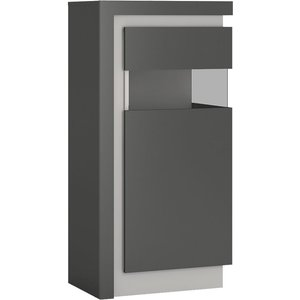 Furniture To Go Lyon Small Narrow Right Hand Facing Display Cabinet - Platinum And Light Grey Gloss, Platinum and Light Grey Gloss