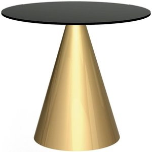 Space London Maida Black Glass 80cm Small Round Dining Table With Brass Conical Base, Black Glass and Brass Brushed