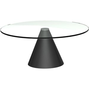 Space London Maida Clear Glass Small Round Coffee Table With Black Conical Base