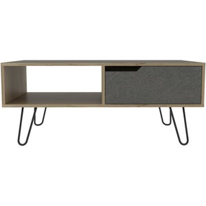Cfs Value Manhattan Coffee Table With Hairpin Legs - Pine And Stone Effect, Bleached Pine and Stone Effect