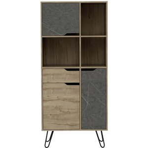 Cfs Value Manhattan Book Cabinet With Hairpin Legs - Pine And Stone Effect, Bleached Pine and Stone Effect