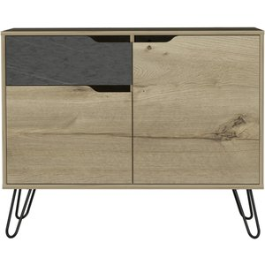Cfs Value Manhattan Small Sideboard With Hairpin Legs - Pine And Stone Effect, Bleached Pine and Stone Effect