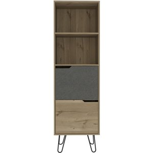 Cfs Value Manhattan Tall Bookcase With Hairpin Legs - Pine And Stone Effect, Bleached Pine and Stone Effect