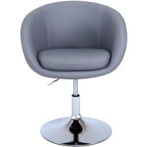Deco Home Marigot Grey Faux Leather Swivel Chair, Grey