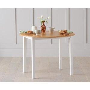 Mark Harris Furniture Mark Harris Alaska Oak And White Oval Butterfly Extending Dining Table - 107cm-135cm