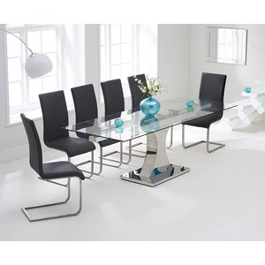 Mark Harris Furniture Mark Harris Amber Glass Extending Dining Table And 6 Malibu Chairs - Chrome And Grey