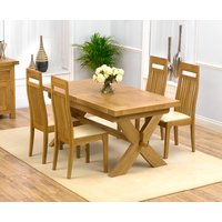 Mark Harris Furniture Mark Harris Avignon Oak Extending Dining Table And 4 Monte Carlo Cream Chairs, Lacquered