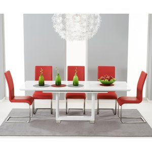 Mark Harris Furniture Mark Harris Beckley White High Gloss Extending Dining Table And 6 Malibu Red Chairs, High Gloss