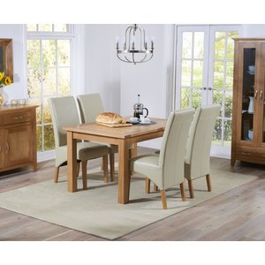 Mark Harris Furniture Mark Harris Cambridge Oak Extending Dining Table And 4 Roma Cream Bycast Leather Chairs, Oak with Clear Lacquer