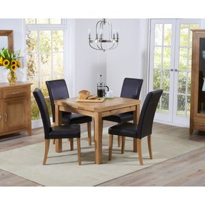 Mark Harris Furniture Mark Harris Cambridge Oak Square Extending Dining Table And 4 Atlanta Brown Faux Leather C, Oak with Clear Lacquer