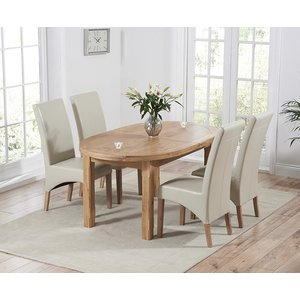 Mark Harris Furniture Mark Harris Cheyenne Oak Oval Extending Dining Table And 4 Roma Cream Bycast Leather Chair, Oak with Clear Lacquer