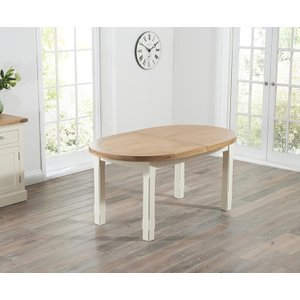 Mark Harris Furniture Mark Harris Cheyenne Oval Extending Dining Table - Oak And Cream, Oak with Cream Paint and Clear Lacquer