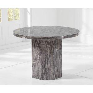 Mark Harris Furniture Mark Harris Coruna 110cm Grey Marble Round Dining Table, Grey