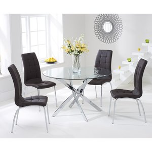 Mark Harris Furniture Mark Harris Daytona Glass Round Dining Table And 2 California Chairs - Chrome And Brown