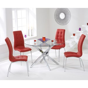 Mark Harris Furniture Mark Harris Daytona Glass Round Dining Table And 2 California Chairs - Chrome And Red