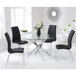 Mark Harris Furniture Mark Harris Daytona Glass Round Dining Table And 2 California Chairs - Chrome And Black
