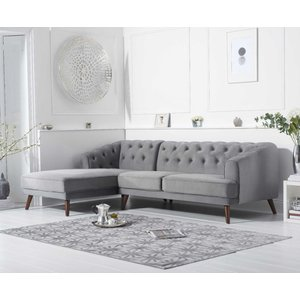 Mark Harris Furniture Mark Harris Destiny Grey Velvet Left Hand Facing Corner Sofa, Grey