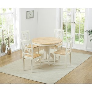 Mark Harris Furniture Mark Harris Elstree Butterfly Extending Dining Table And 4 Chairs - Oak And Cream, Cream and Oak