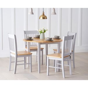 Mark Harris Furniture Mark Harris Genovia Oak And Grey Drop Leaf Extending Dining Table And 4 Chairs, Oak and Grey Painted