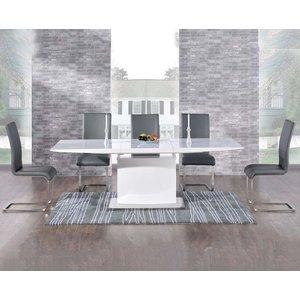 Mark Harris Furniture Mark Harris Hayden White High Gloss Extending Dining Table And 6 Malibu Grey Chairs, High Gloss