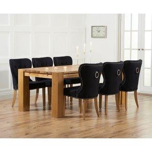 Mark Harris Furniture Mark Harris Madrid Oak Extending Dining Table And 4 Kalim Black Chairs, Oiled